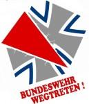 """Logo der Kampagne """"Bundeswehr wegtreten!"""""""