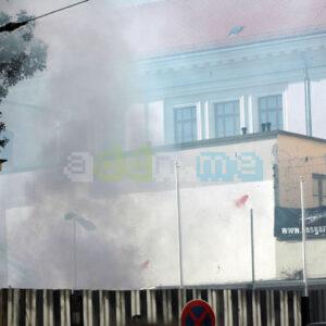 Pyrotechnik und Knallkörper flogen in die Odermannstraße...