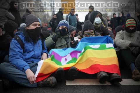 Blockade am 19. Februar 2011 in Dresden (Quelle: flickr.com/photos/pm_cheung/)