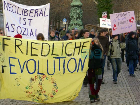 Occupy Demonstration am 15. Januar auf der Hauptstraße