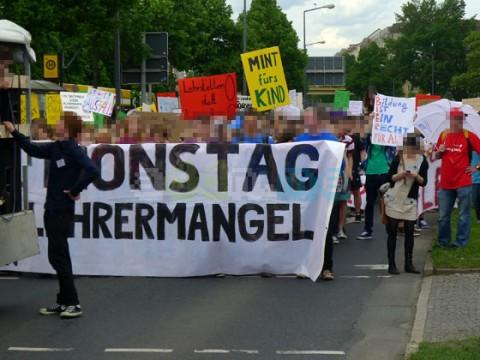 SchülerInnen Block auf der Demonstration
