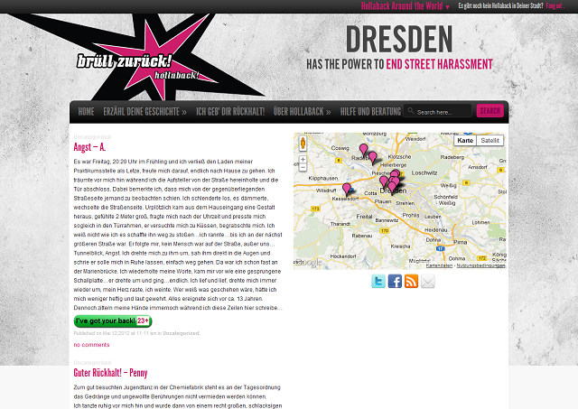 "Screenshot der Website ""Hollaback"""