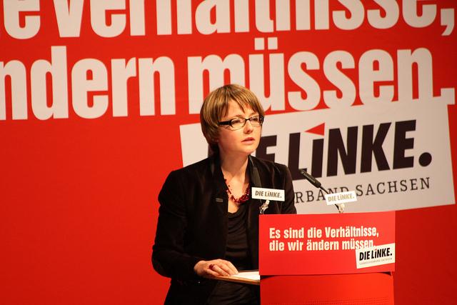 Annekatrin Klepsch auf dem Parteitag der sächsischen Linken in Bautzen (Quelle: flickr.com/photos/dielinke-sachsen/)