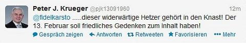 Twittermeldung von Peter Joachim Krüger (Quelle: twitter.com/pjk13091960)
