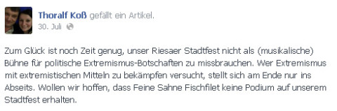 Statement von Thoralf Koß (Quelle: Facebook)