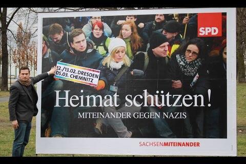 """SPD wirbt mit """"Heimat schützen! Miteinander gegen Nazis"""" (Quelle: Facebook)"""