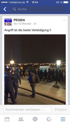 Aufruf  von PEGIDA (Quelle: Screenshot Facebook)