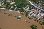 Luftbild des überschwemmten Gebietes nach dem Hochwasser im Juni  2013 (Quelle: Umweltamt Stadt Dresden)