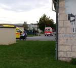 Einfahrt zur Erstaufnahmeeinrichtung in Bischofswerda (Quelle: twitter.com/0_ANTIFASCIST_0)