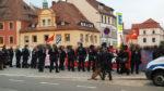 Polizeikette vor den linken Gegenprotesten (Quelle: twitter.com/rethnologie/)