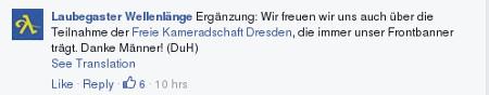 Laubegaster Wellenlänge mit Dank an die Freie Kameradschaft Dresden (Quelle: Facebook)
