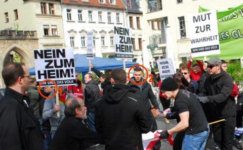 Naziangriff auf eine DGB-Kundgebung am 01. Mai 2015 in Weimar. Mit dabei: Johannes Schönfelder (1) und Florian Otto (2). Screenshot: MDR