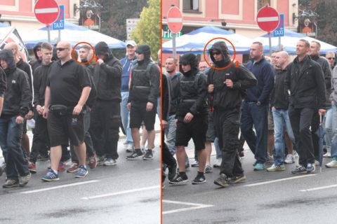 Naziaufmarsch am 23. August 2014 in Bautzen. Maximilian Mahr (1) und Frederic Pöthig (2)