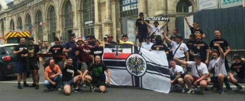 Nazis bei der Fußballeuropameisterschaft in Lille (Frankreich) 2016. Links im Bild: Frederic Pöthig