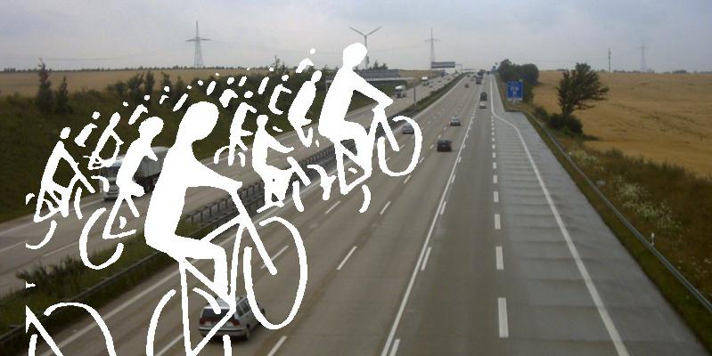 Stilisierte Silouetten von Radfahrer*innen auf der Autobahn