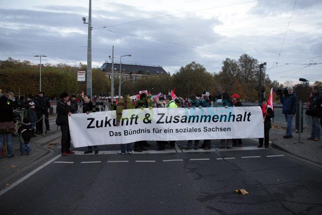 Fronttransparent des ersten Demonstrationszuges